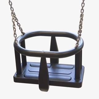 Safety  seat made of aluminum and stainless steel covered with soft polyurethane, hanged on 6 mm stainless steel chains.